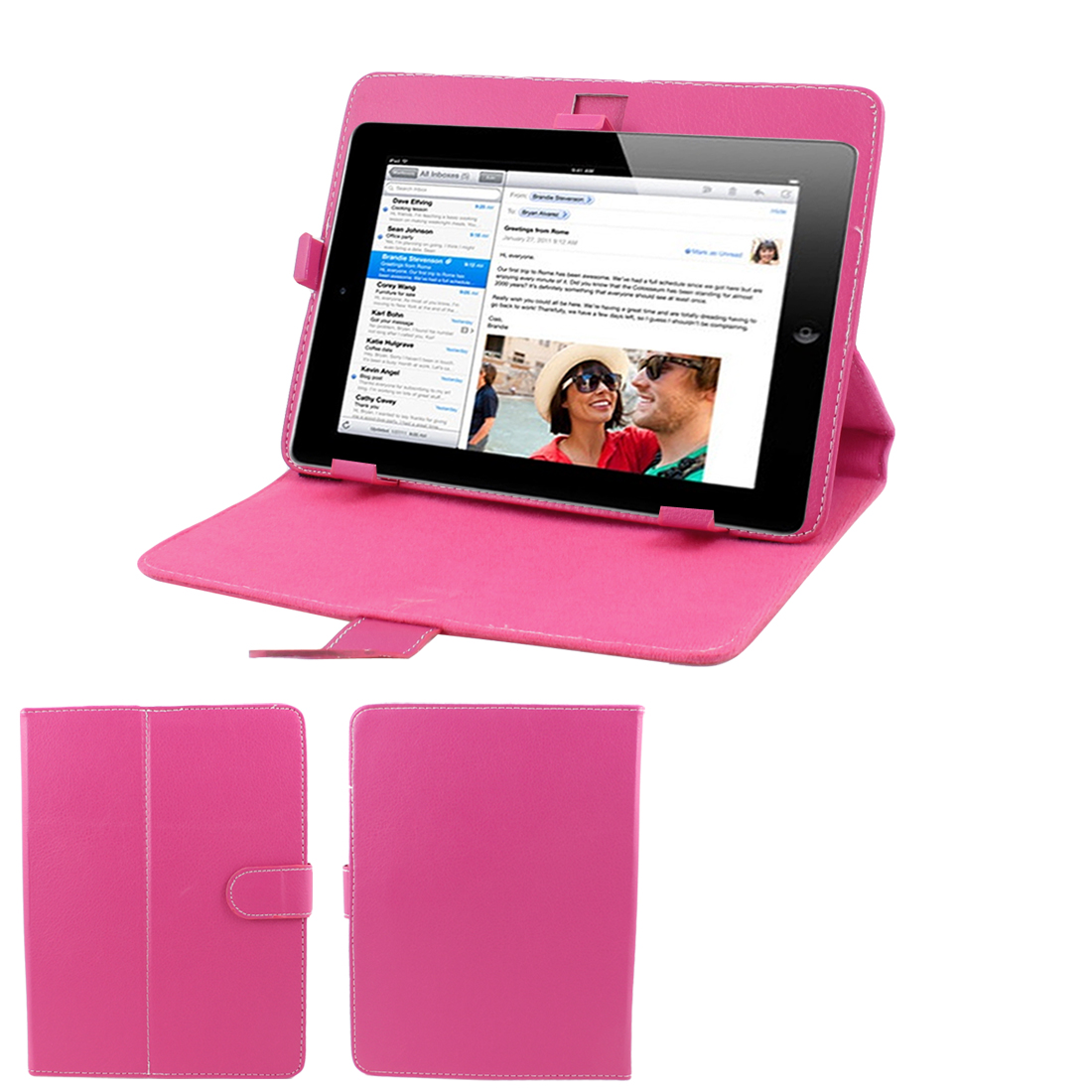 "Fuchsia Stitched Faux Leather Magnetic Stand Case Cover for 8"" Tablet PC"