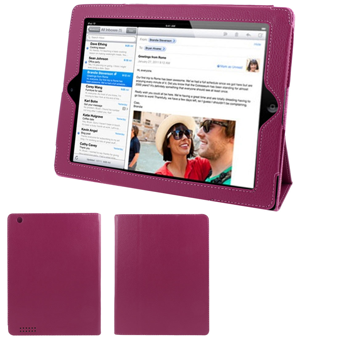 "Fuchsia Faux Leather Magnetic Stand Case Cover for 9.7"" 10"" 10.1"" Tablet PC"