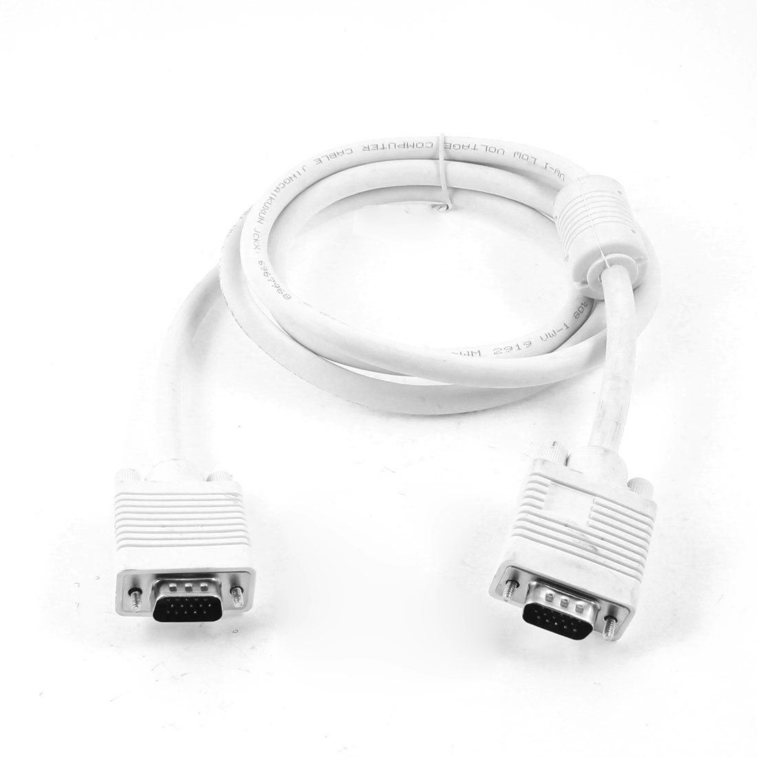 VGA Extension Adapter Cable Lead 15 Pin Male to Male White 145cm for LCD Monitor