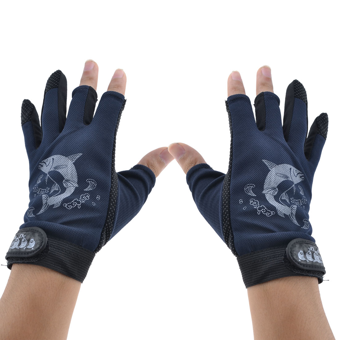 Pair Black Blue Non-slip Fish Design Fishing Tackle Sport Gloves