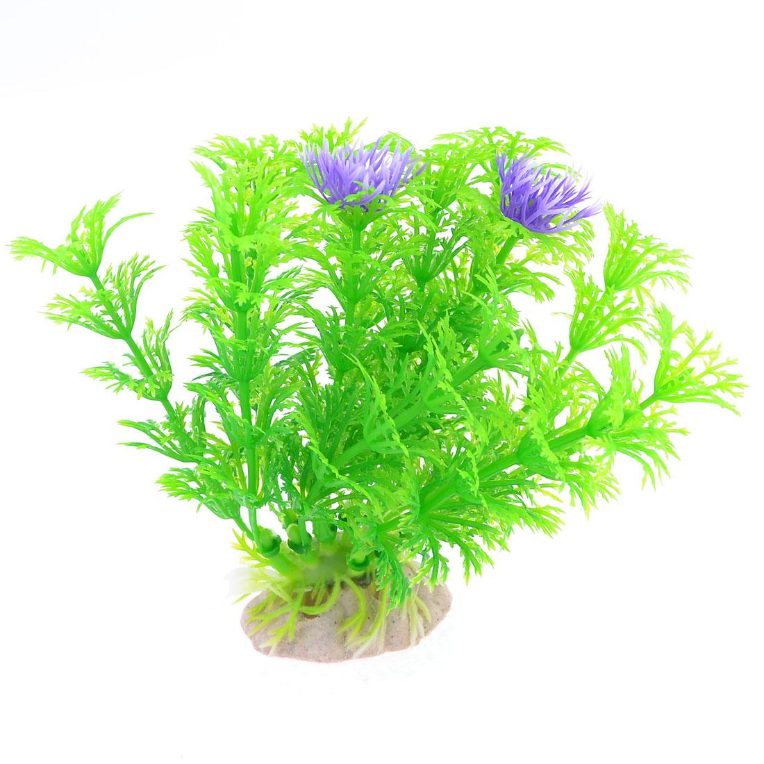 "3.5"" Height Purple Green Artificial Water Grass Decor for Fish Tank Aquarium"