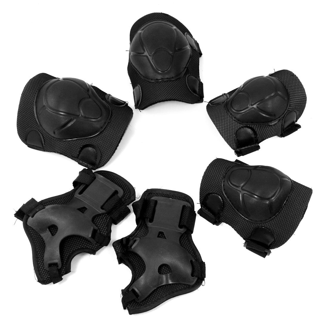 Skating Protecting Knee Elbow Palm Support Set Black for Kid