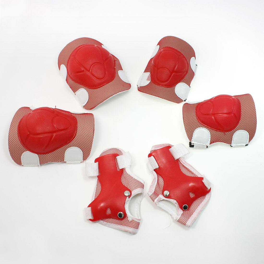 Adjustable Hook Loop Fastener Knee Elbow Palm Sport Support Set Red White