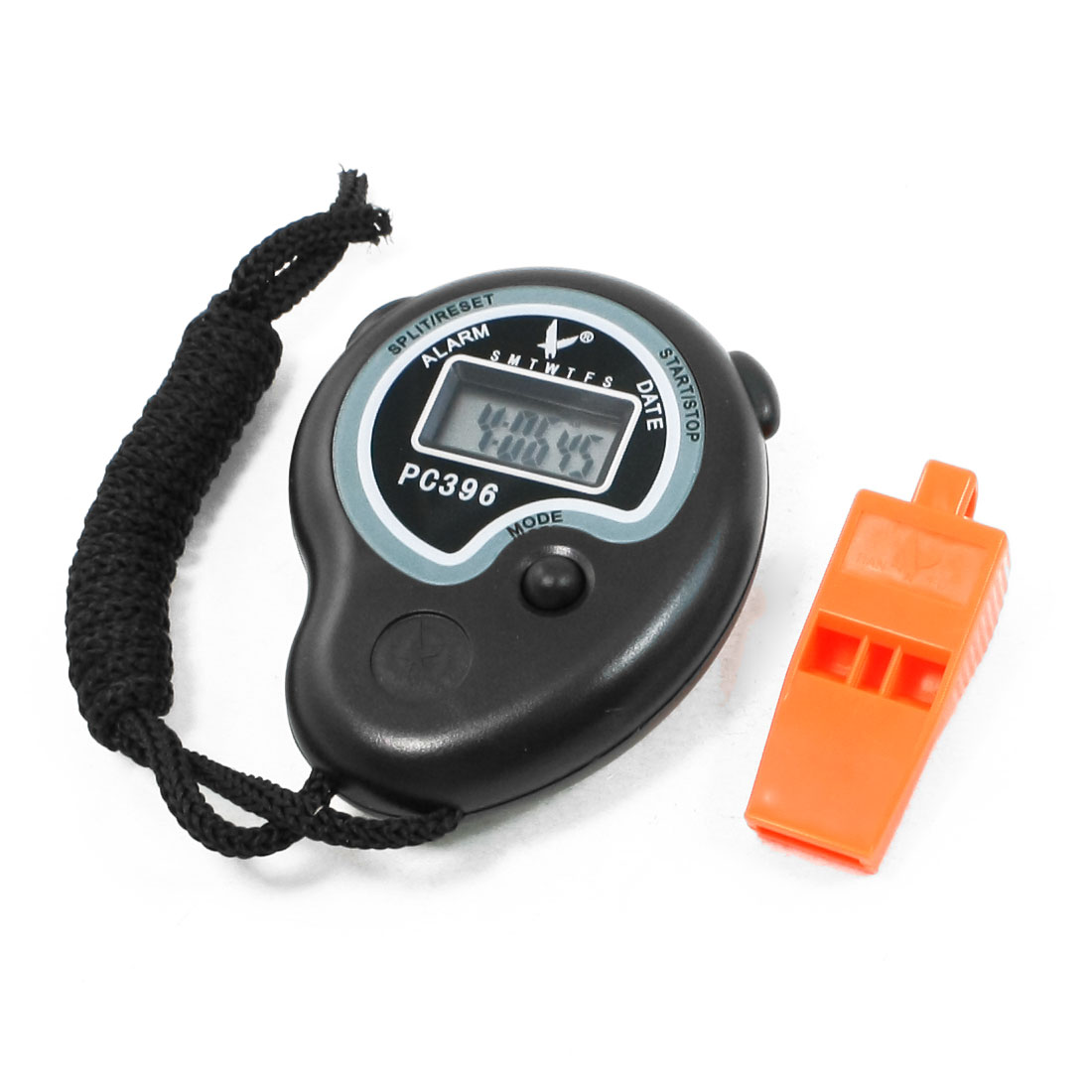 2 in 1 Sports Training LCD Digital Chronograph Timer Stopwatch + Whistle Set