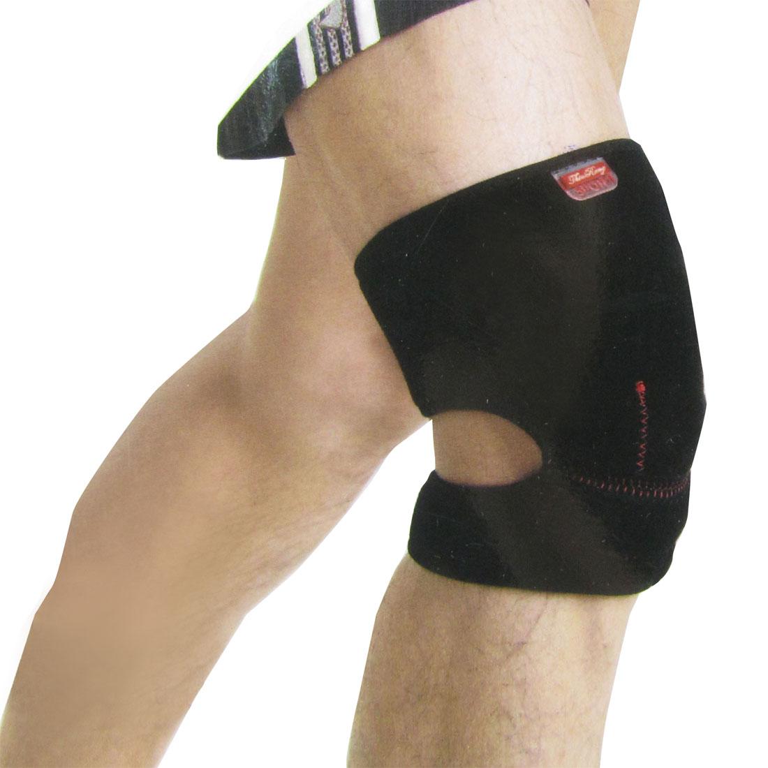 Detachable Hook Loop Fastener Neoprene Stretchy Knee Support Brace Red Black
