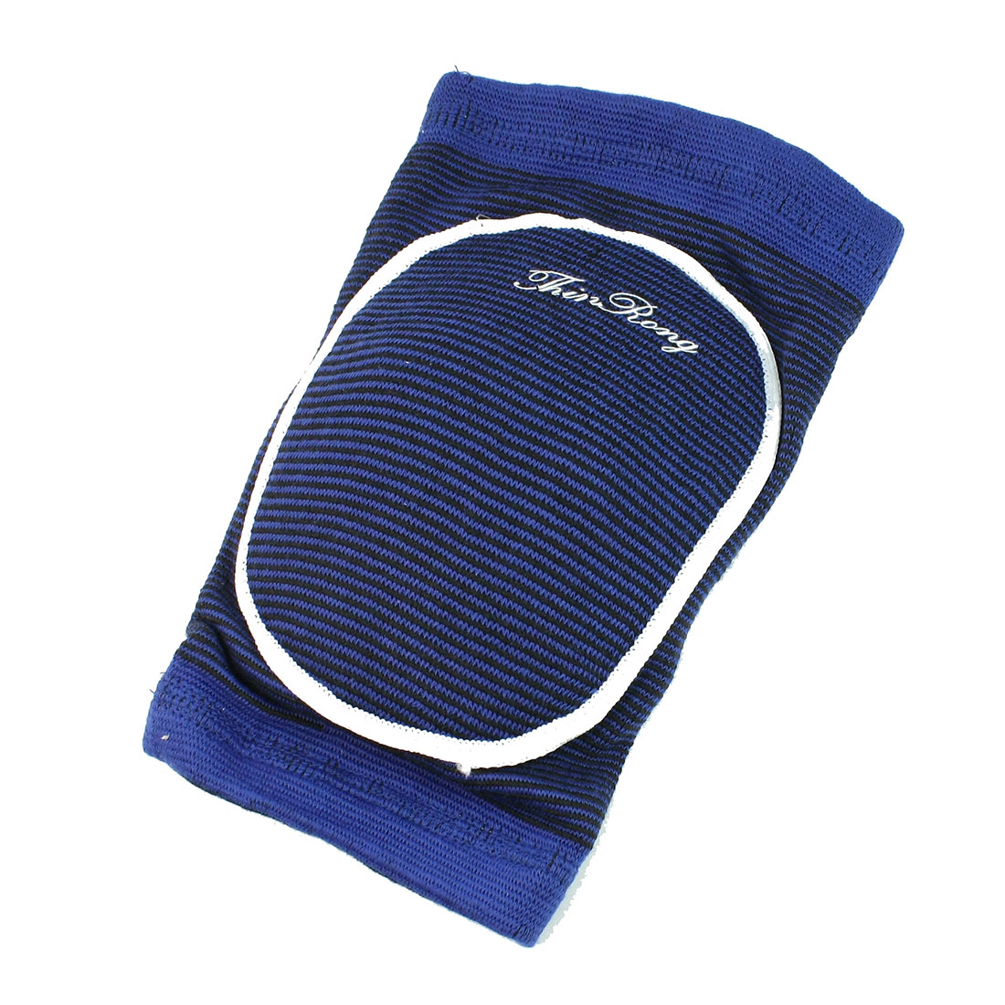 Exercise Gym Black Textured Stripe Pattern Stretchy Knee Support Blue