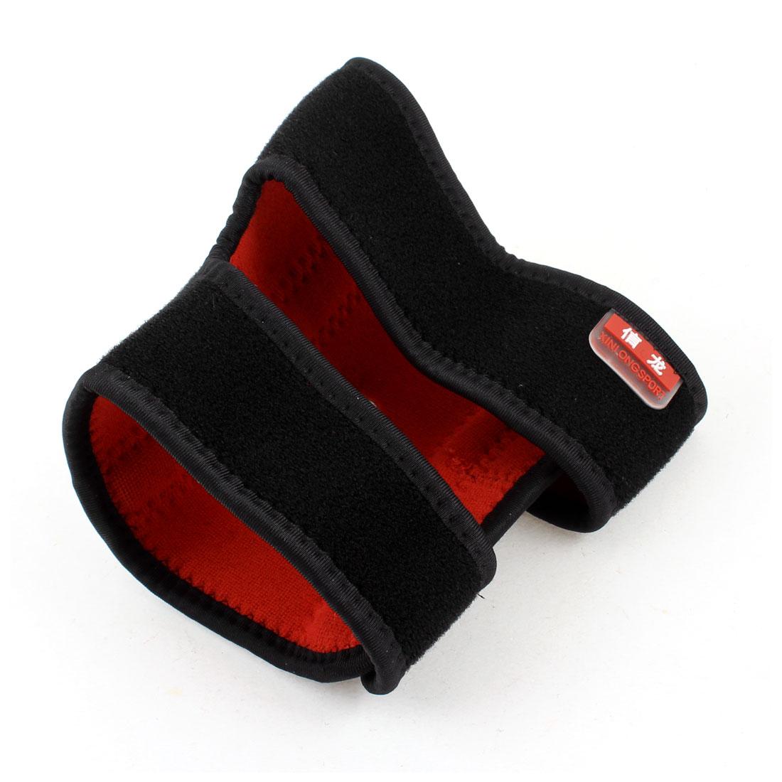 Hook Loop Fastener Neoprene Stretchy Elbow Arm Support Red Black