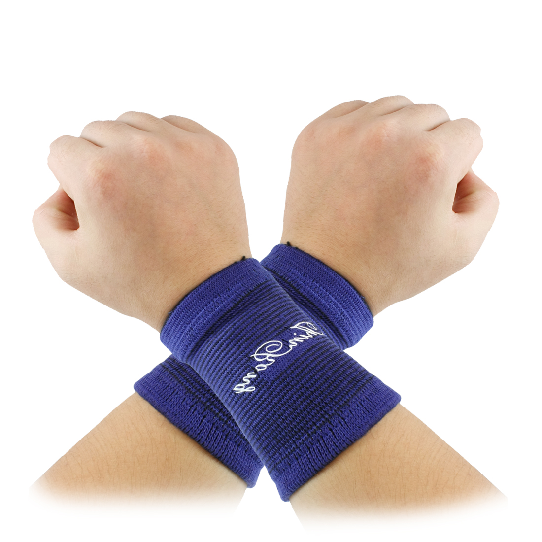 Pair Sports Protector Texturing Soft Elastic Wrist Brace Support Light Orange