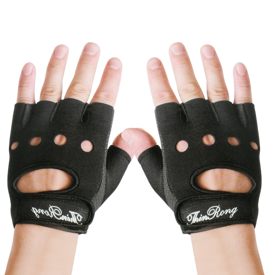 Size M Hollow Out Design Back Fingerless Black Blue Gloves Support