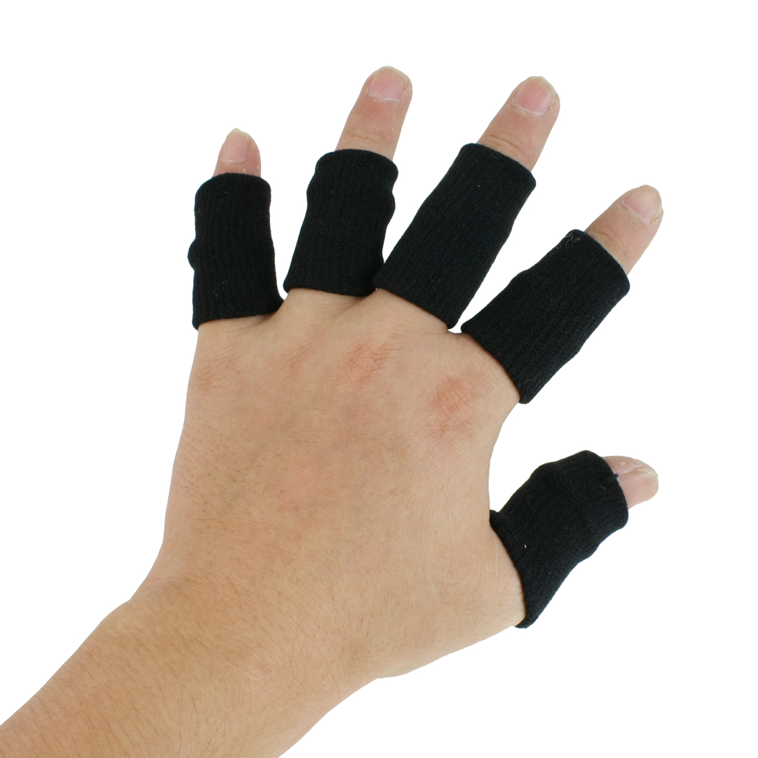 Sports Black Nylon Elastic Fingers Sleeve Cover 10 Pcs