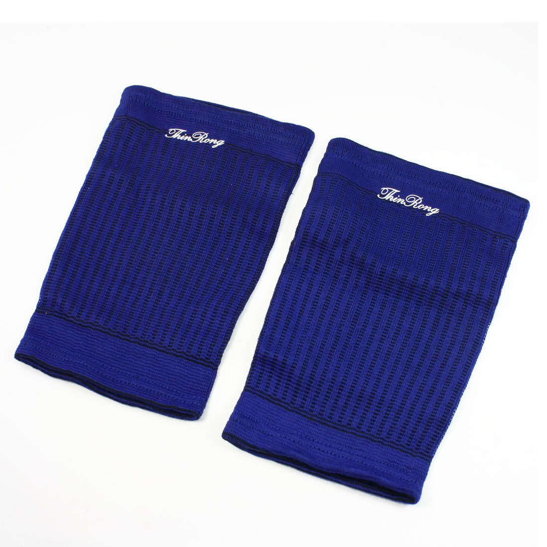 Black Stripe Pattern Textured Blue Thigh Brace Support Protector Pair
