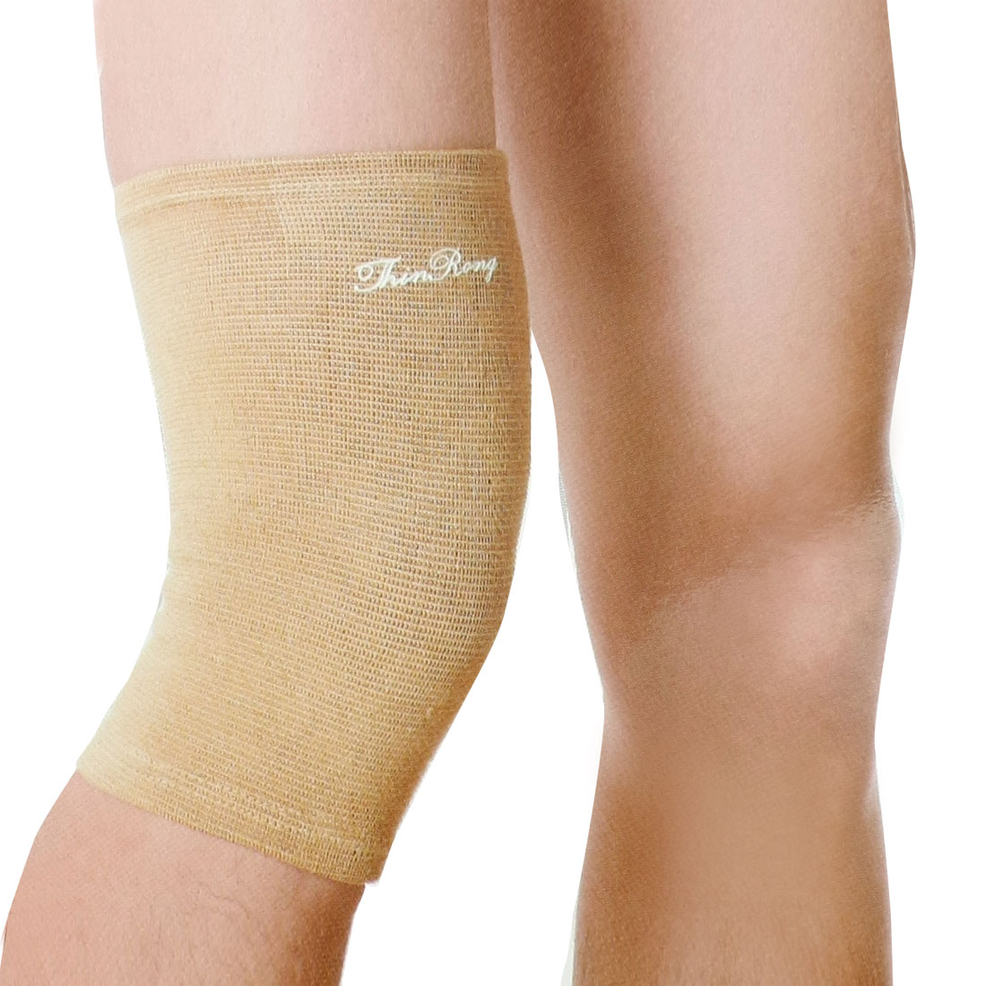 Outdoor Sports Texturing Elastic Sleeve Knee Wrap Protective Support Khaki Pair