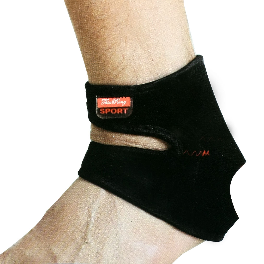Dual Hoop Loop Fastener Design Ankle Support Protector Black Red