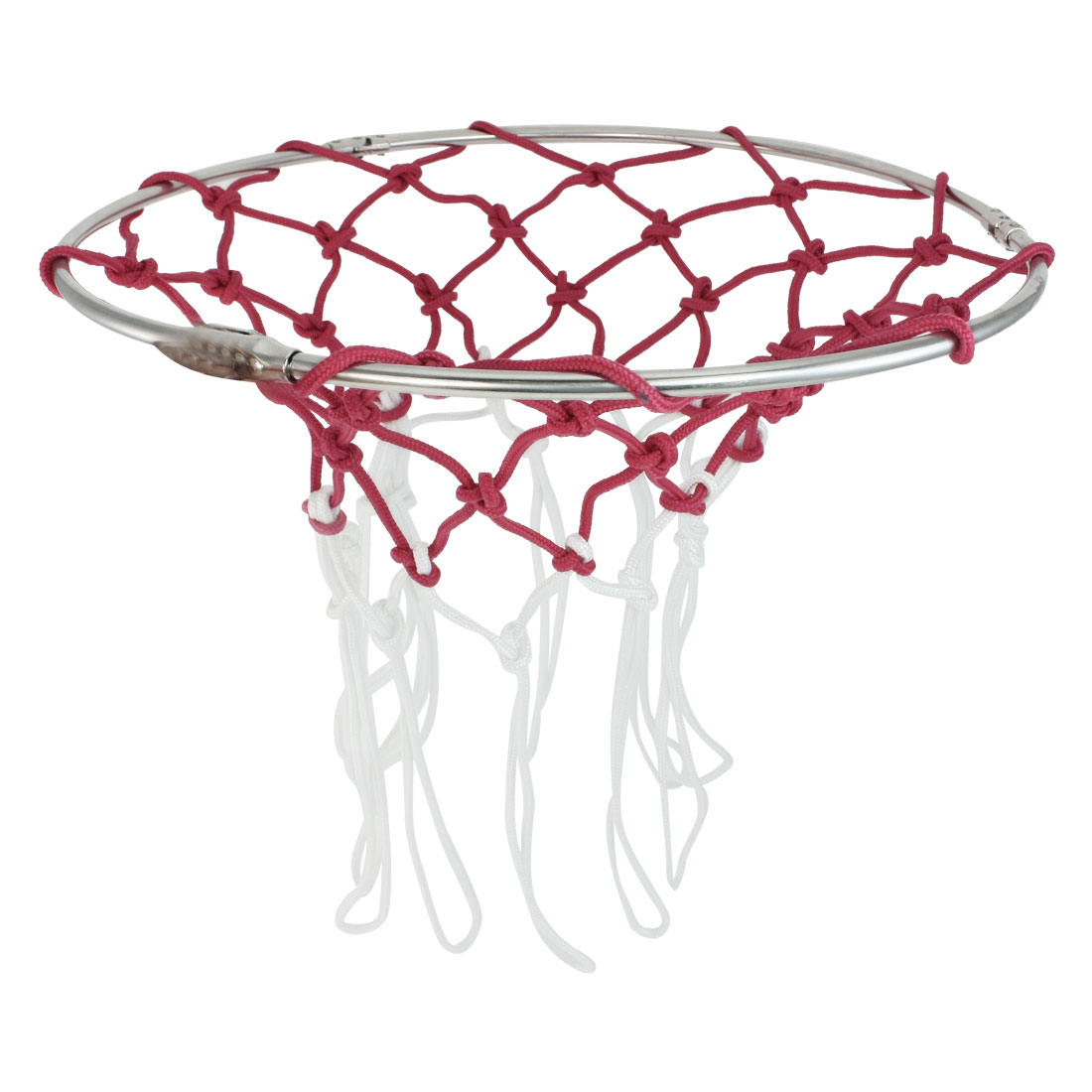 Red White Nylon 5mm Diameter Cord Knotted Sports Basketball Net 2 Pcs