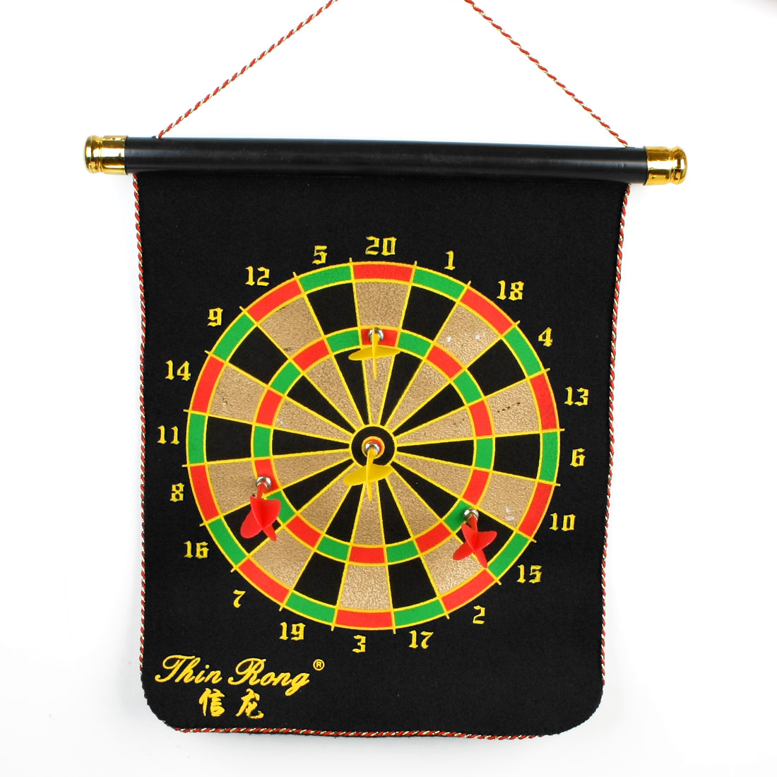 Scroll Design Coiled Edge Magnet Dartboard Toy Black w 4 Darts