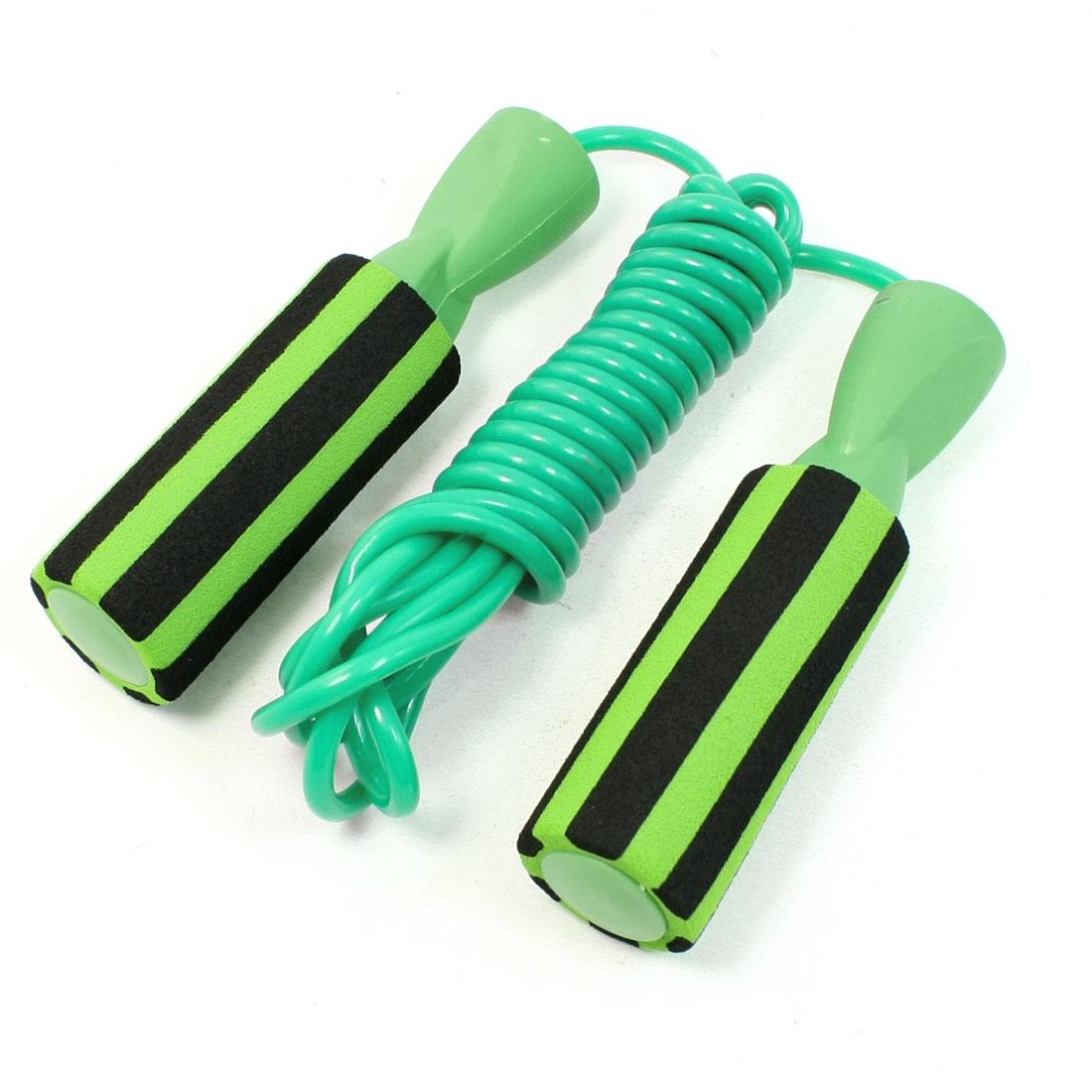 Sports Antislip Stripe Pattern Handle Flexible Jump Rope Green Black 9.2 Ft