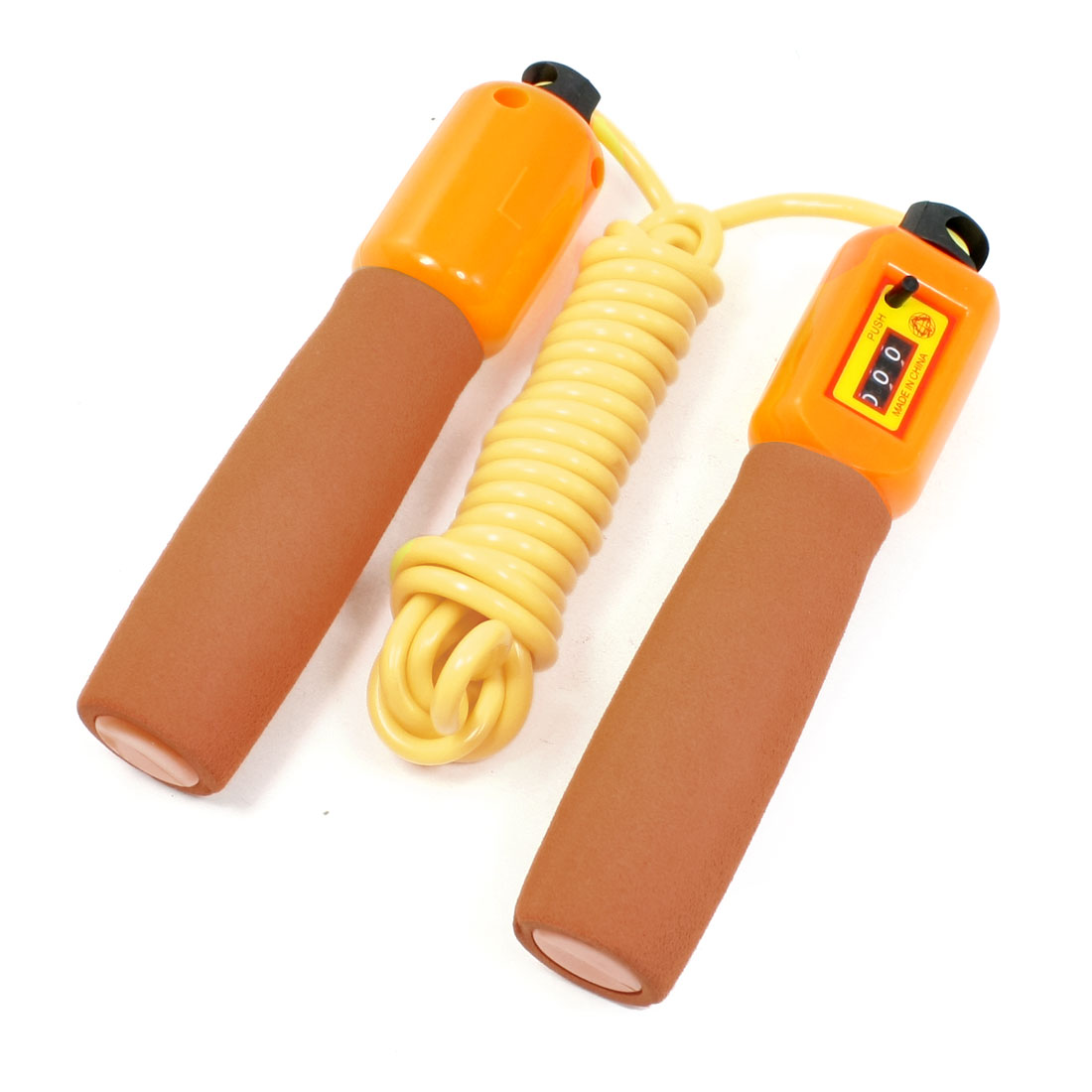 Orange Yellow Nonslip Grip Counter Flexible Jumping Skipping Rope 2.8 Meters