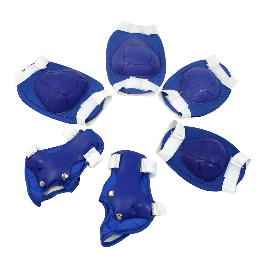 Kids Adjustable Design Skating Protector Knee Elbow Palm Support Set Blue White