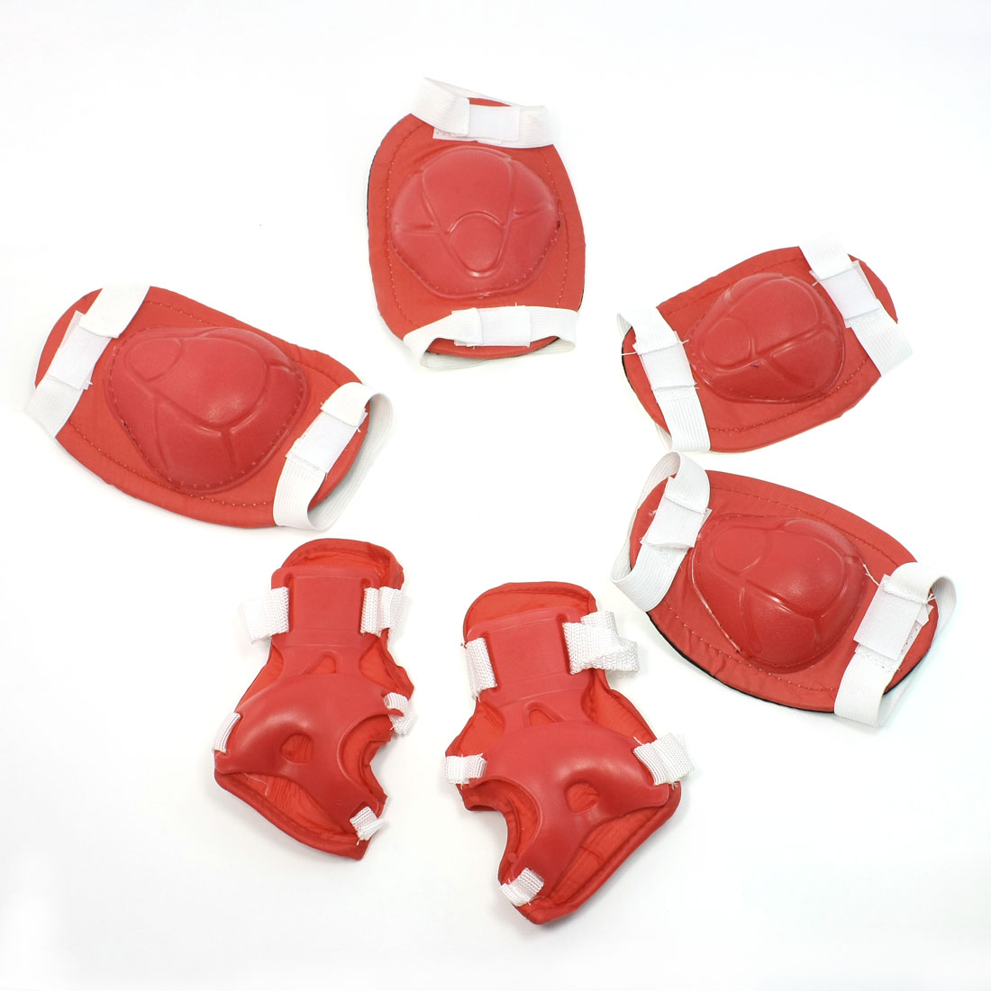 Detachable Red White Arch Shape Skating Protector Knee Elbow Palm Support Set