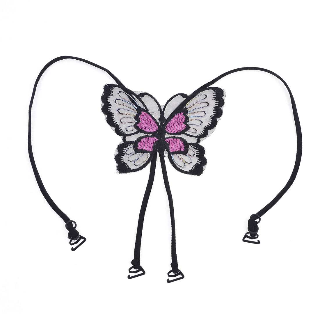 Women Fuchsia Butterfly Accent Adjustable Flexible Cross Back Bra Shoulder Strap