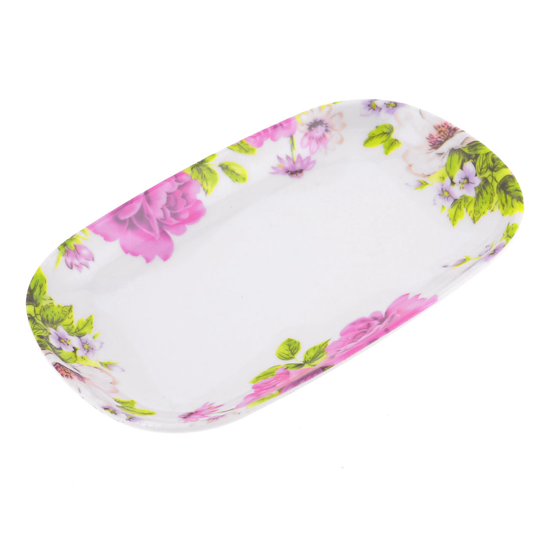 Yellow Leaves Print Rectangle Plastic Biscuit Fruit Dish Plate Holder