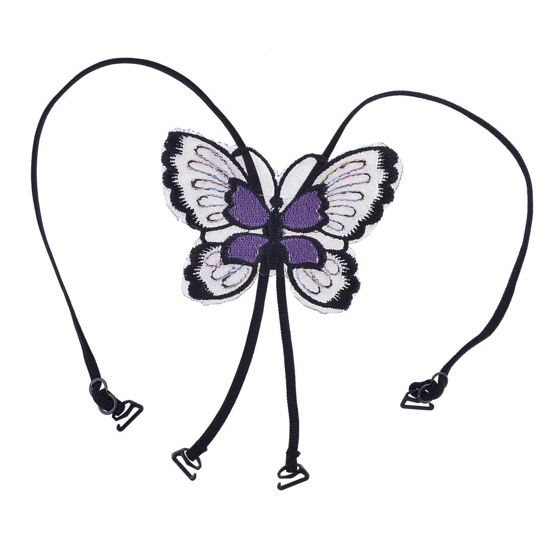 Women Purple Black Butterfly Design Cross Back Underwear Bra Shoulder Strap
