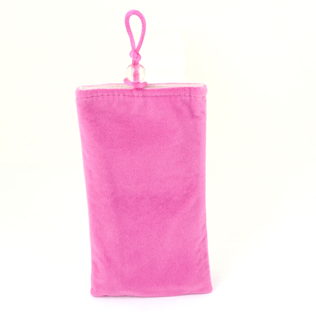 Portable Fuchsia Flannel Pouch Case for Mobile Phone
