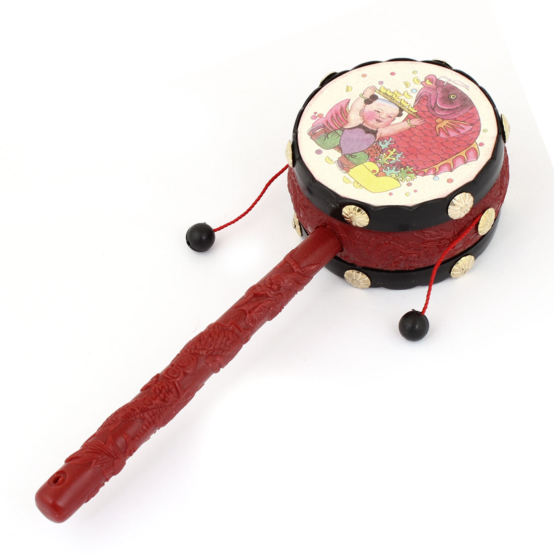 Baby Kids Pattern Dragon Handle Rattle Drum Chinese Traditional Toy