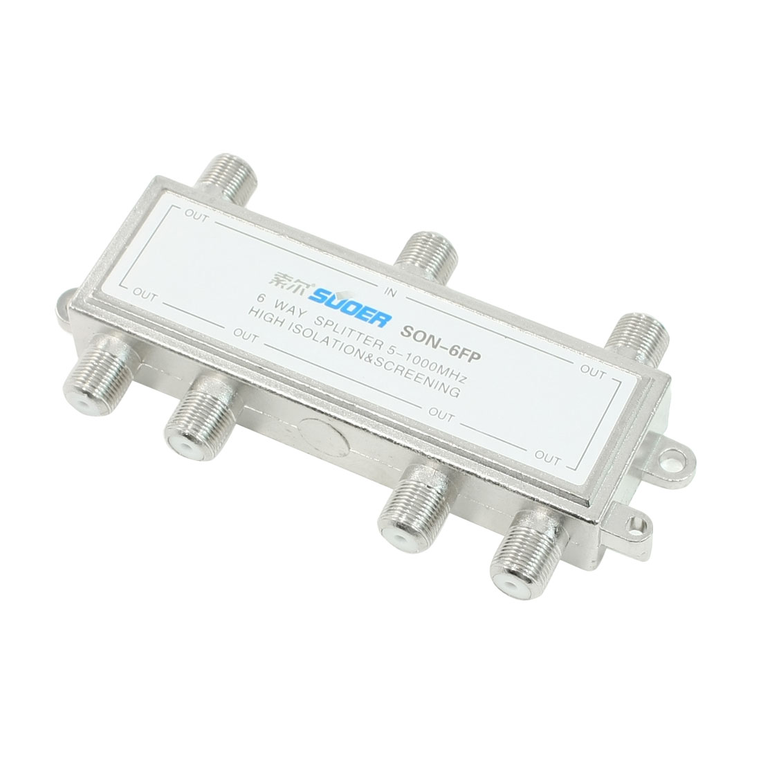 Silver Tone 6 Way Connector CATV Coaxial Cable Splitter 1 In 6 Out