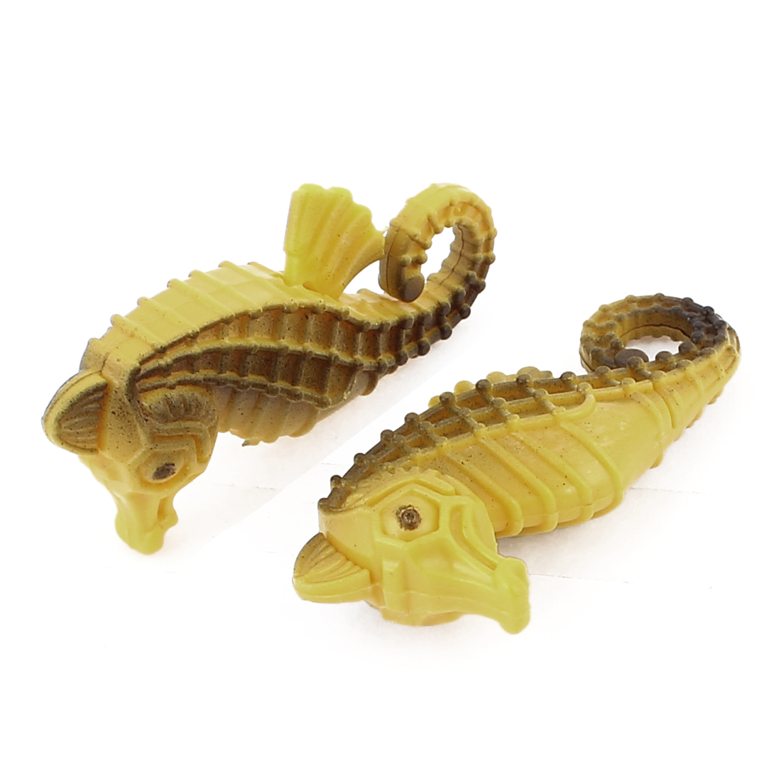 Plastic Artificial Hippocampus Ornament Yellow 2 Pcs for Fish Tank Aquarium