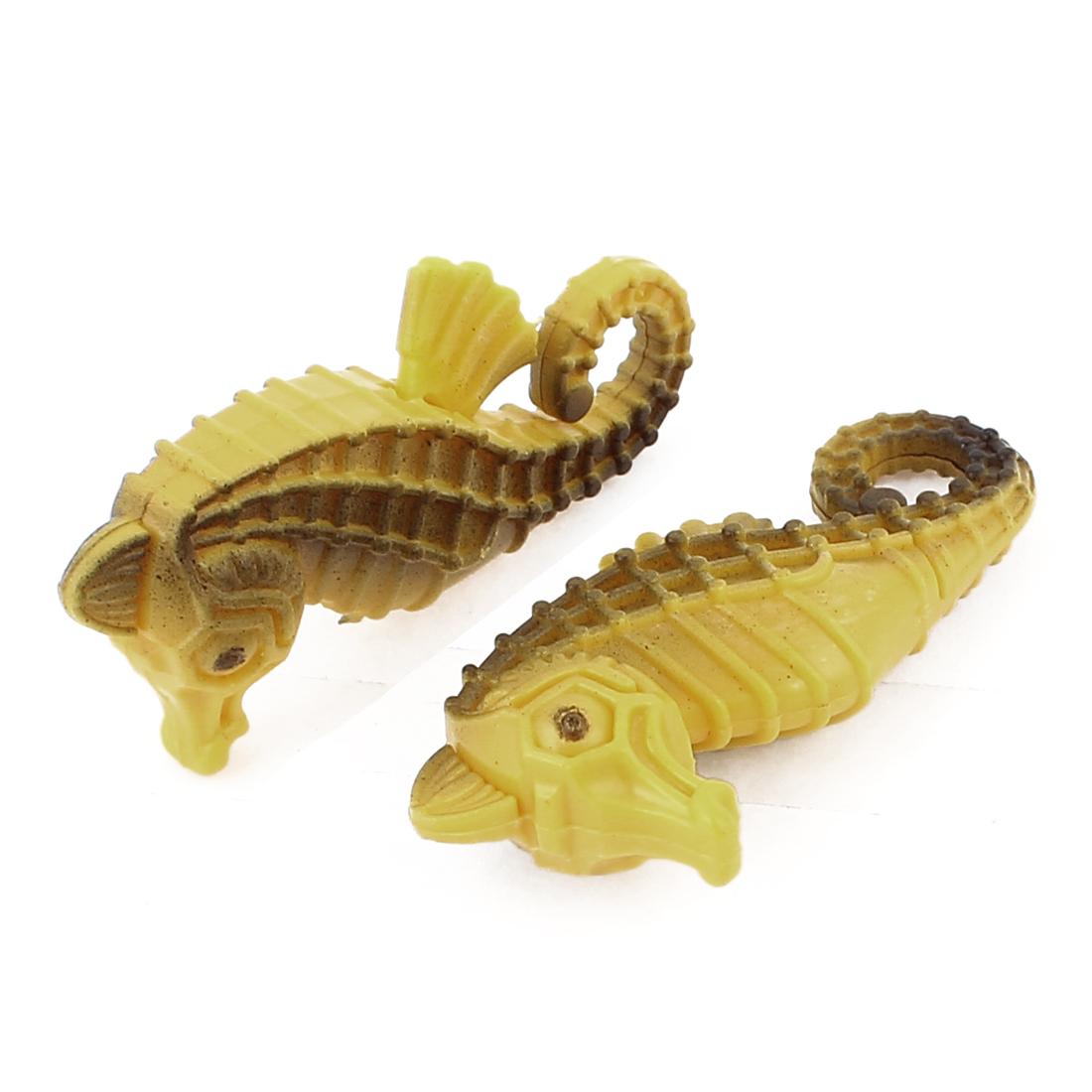 2 Pcs Artificial Plastic Floating Seahorse Ornament Yellow for Fish Tank Aquarium