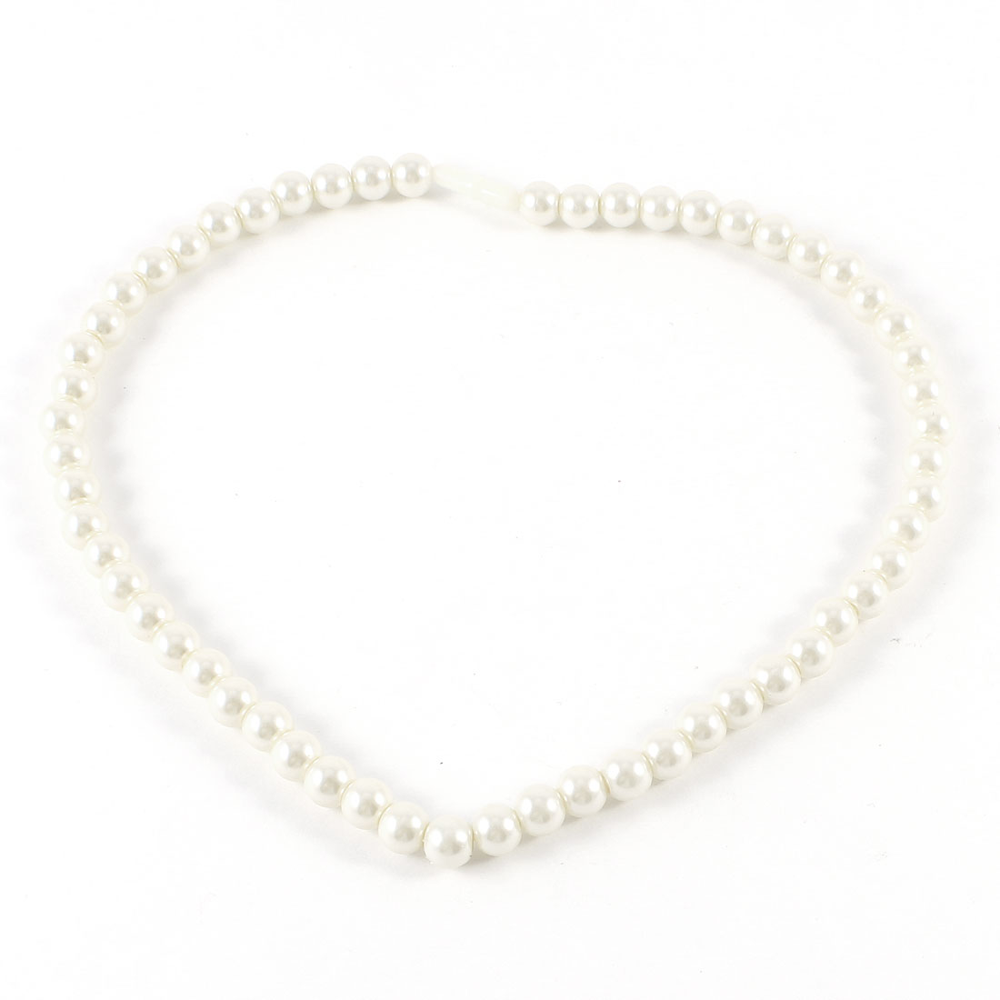 Women Girls White Plastic Pearl Necklace Decoration