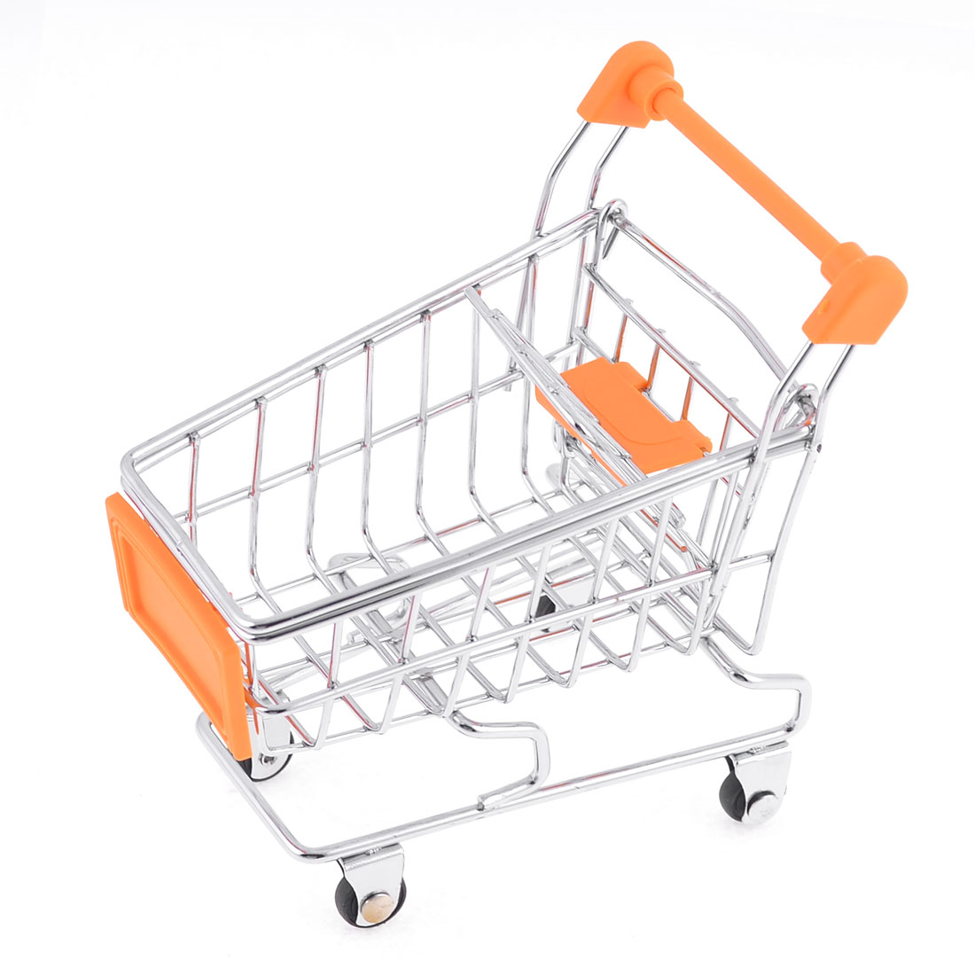Stainless Steel Mini Shopping Cart Model Container Room Ornament for Children Child Kids Orange