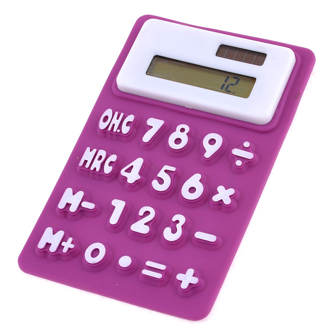 Purple White Soft Silicone 8 Digits LCD Display Electronic Calculator