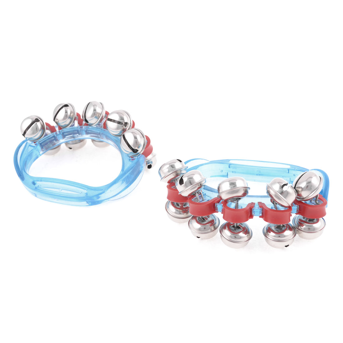 Clear Blue 10 Bells Sound Hand Shaking Bell Toy Pair for Child