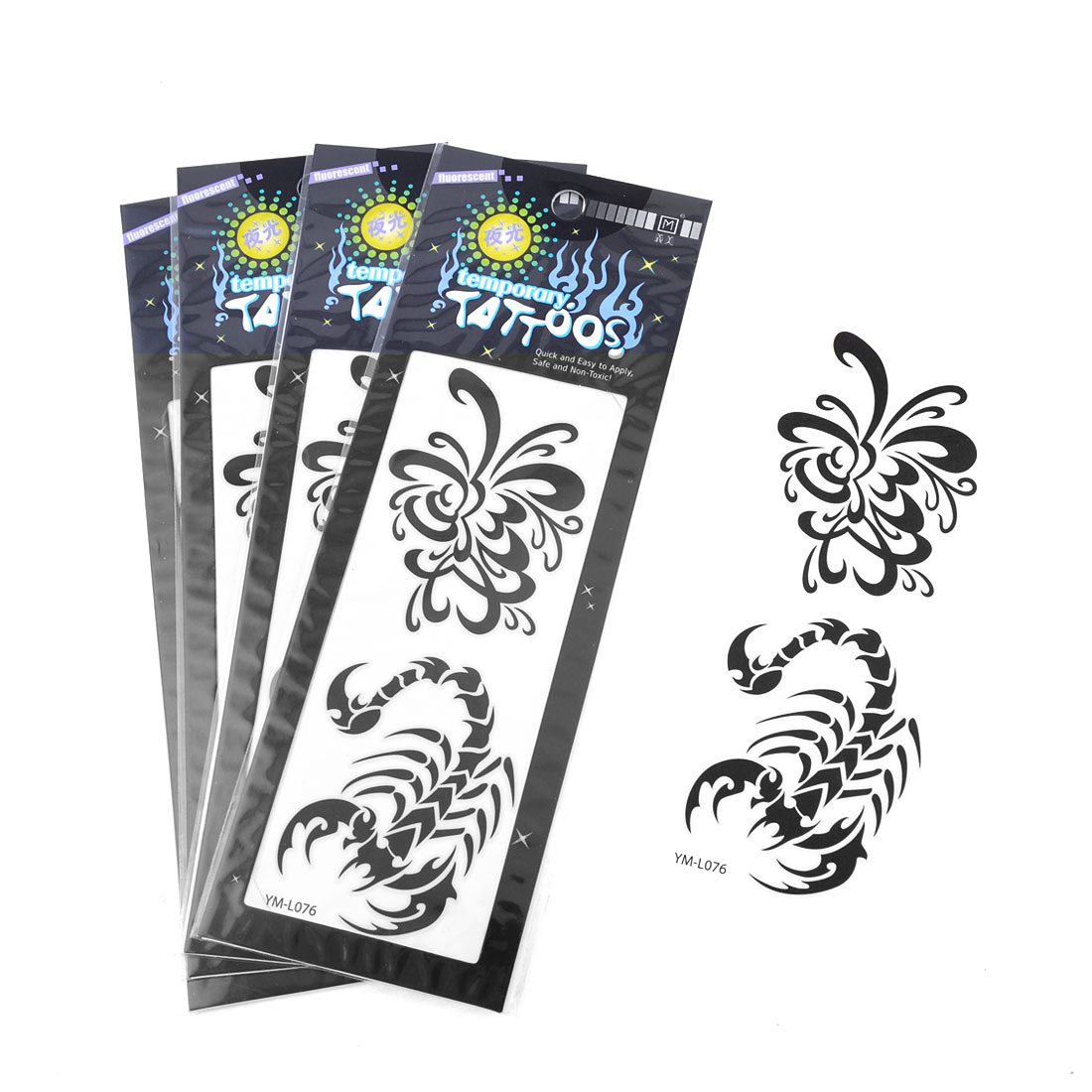 Black Scorpion Flower Printed Transfer Luminous Tattoos Sticker Beauty Tool 5Pcs