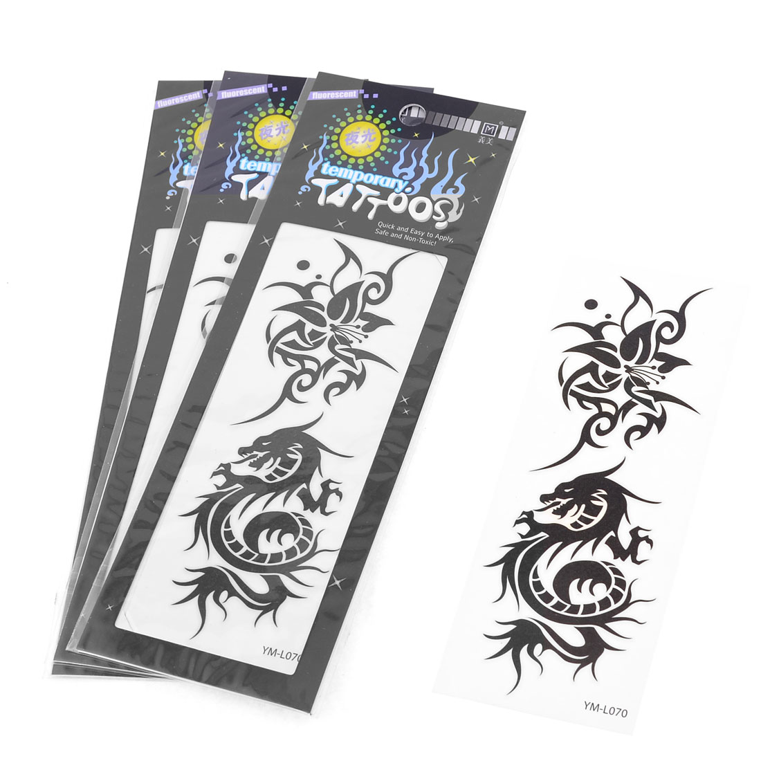 Black Dragon Flower Printed Transfer Luminous Tattoos Sticker Beauty Tool 4 Pcs