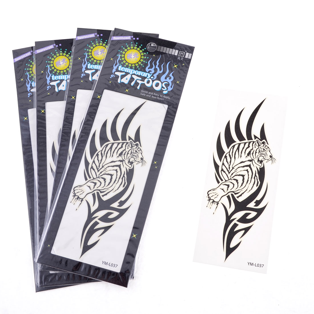 Black Tiger Plant Printed Transfer Luminous Tattoos Sticker Beauty Tool 5 Pcs