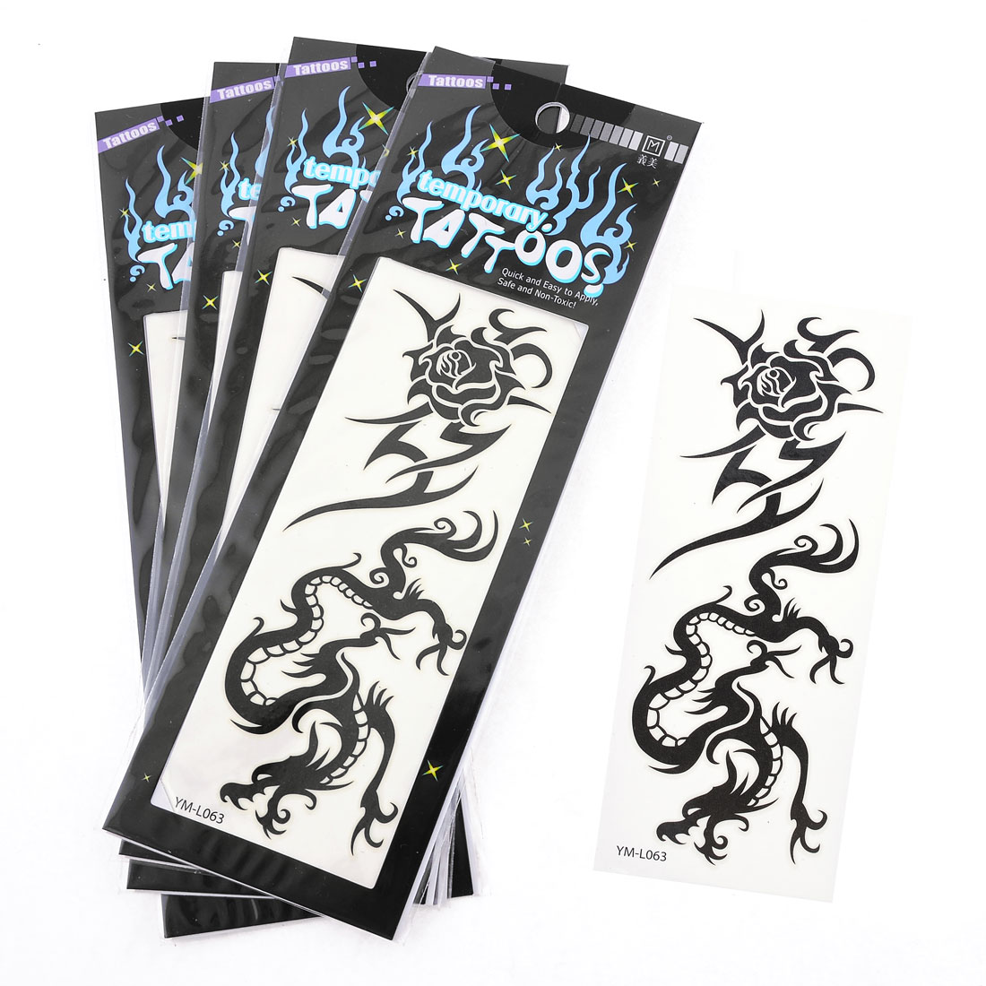 Black Dragon Rose Printed Transfer Luminous Tattoos Sticker Beauty Tool 5 Pcs