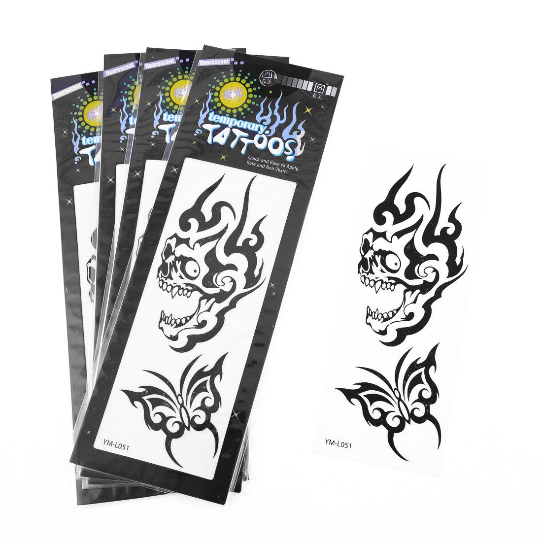 Skin Decor Dragon Head Butterfly Pattern Temporary Luminous Tattoos Sticker 5pcs