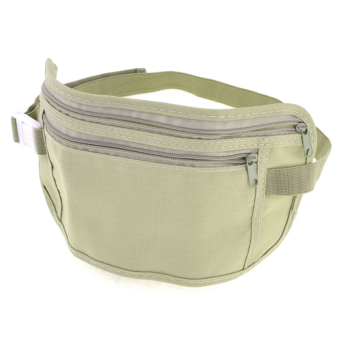 Lady Men Khaki Zip up 2 Compartments Adjustable Strap Waist Bag Pack Purse