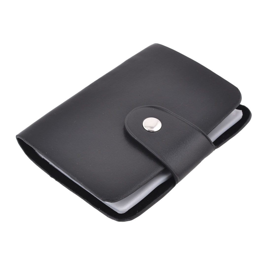 Press Stud Button Closure 12 Page Credit Bank ID Cards Holder Black