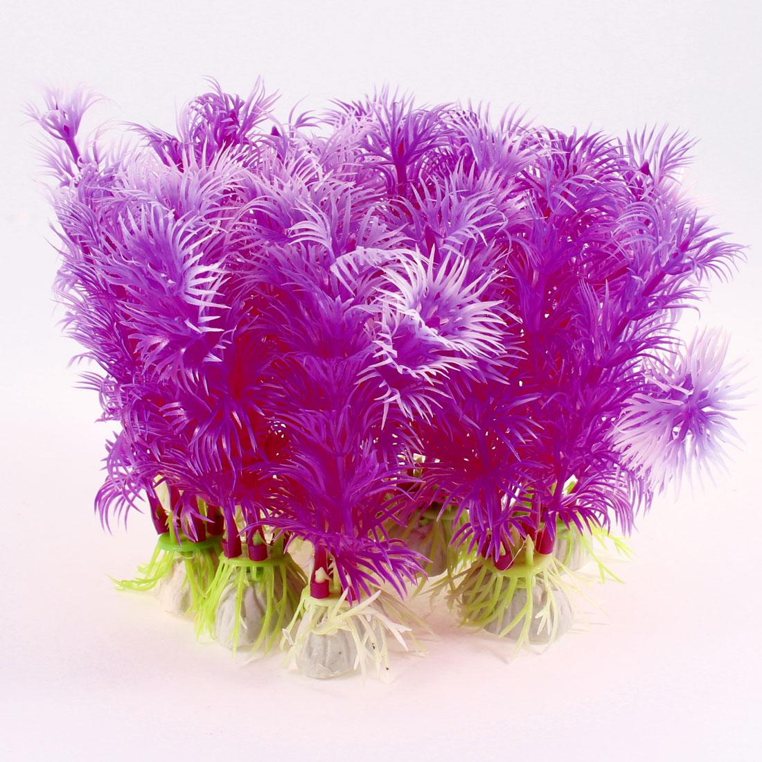 "10 Pcs Decorative Aquariums Fish Tank Plastic Underwater Plants Purple 4.3"" Height"