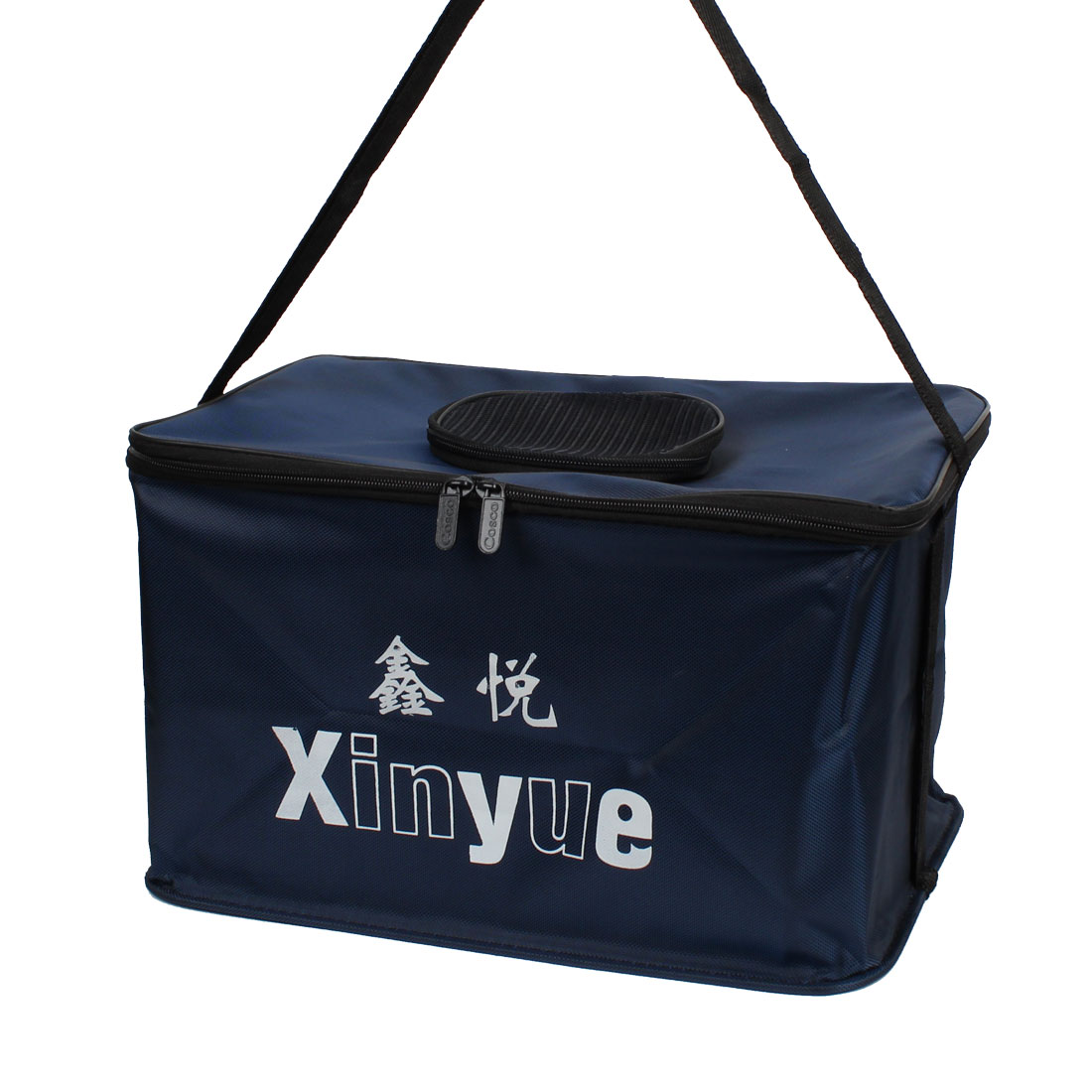 Poratable Should Strap Dark Blue Zippered Rectangle Folding Fishing Fish Bucket