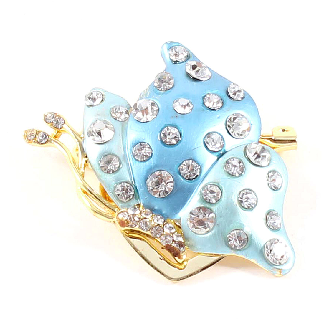 Ladies Rhinestones Detailing Metal Gold Tone Blue Butterfly Safety Pin Brooch
