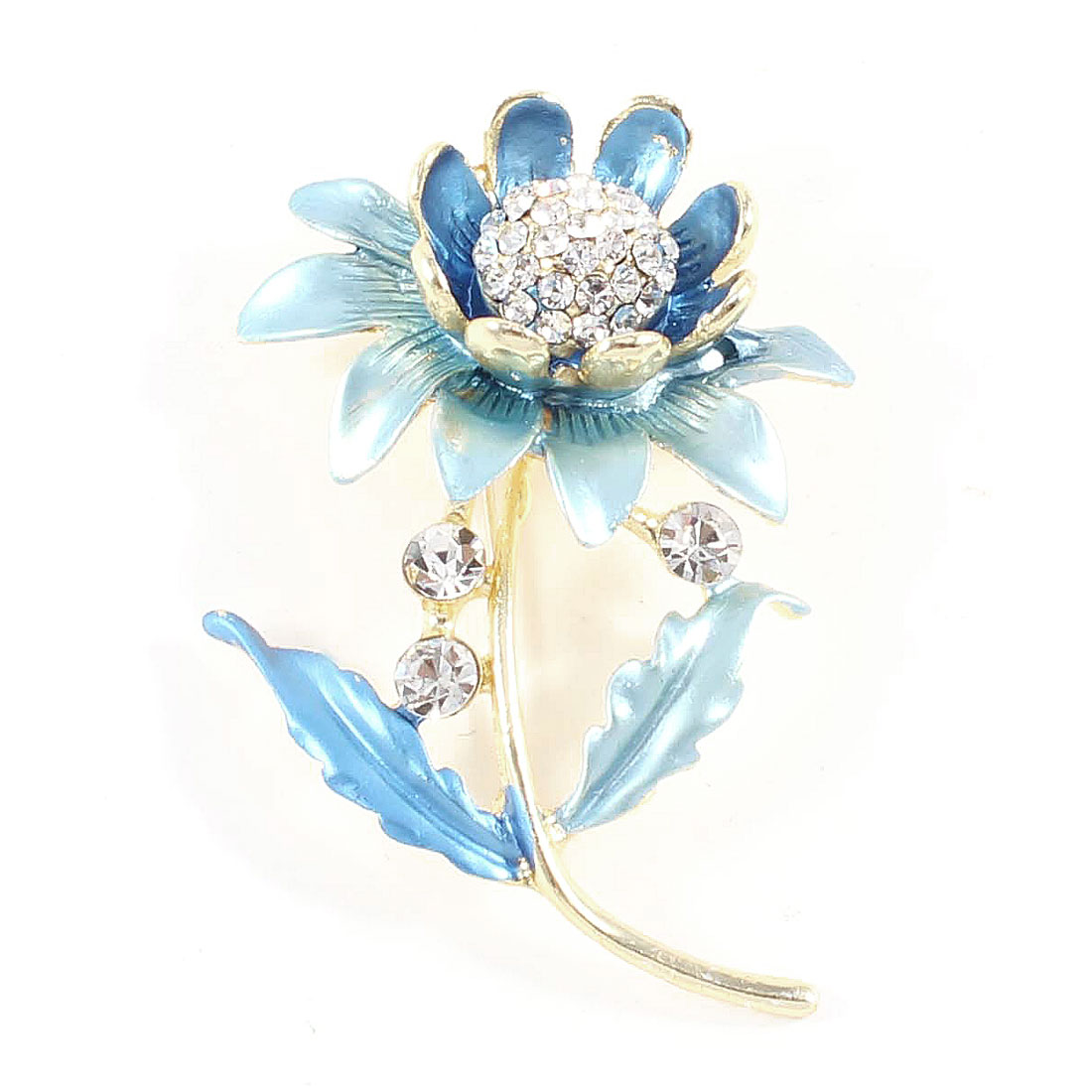 Ladies Rhinestones Inlaid Metal Flowers Brooch Breast Pin Decor Two Tone Blue