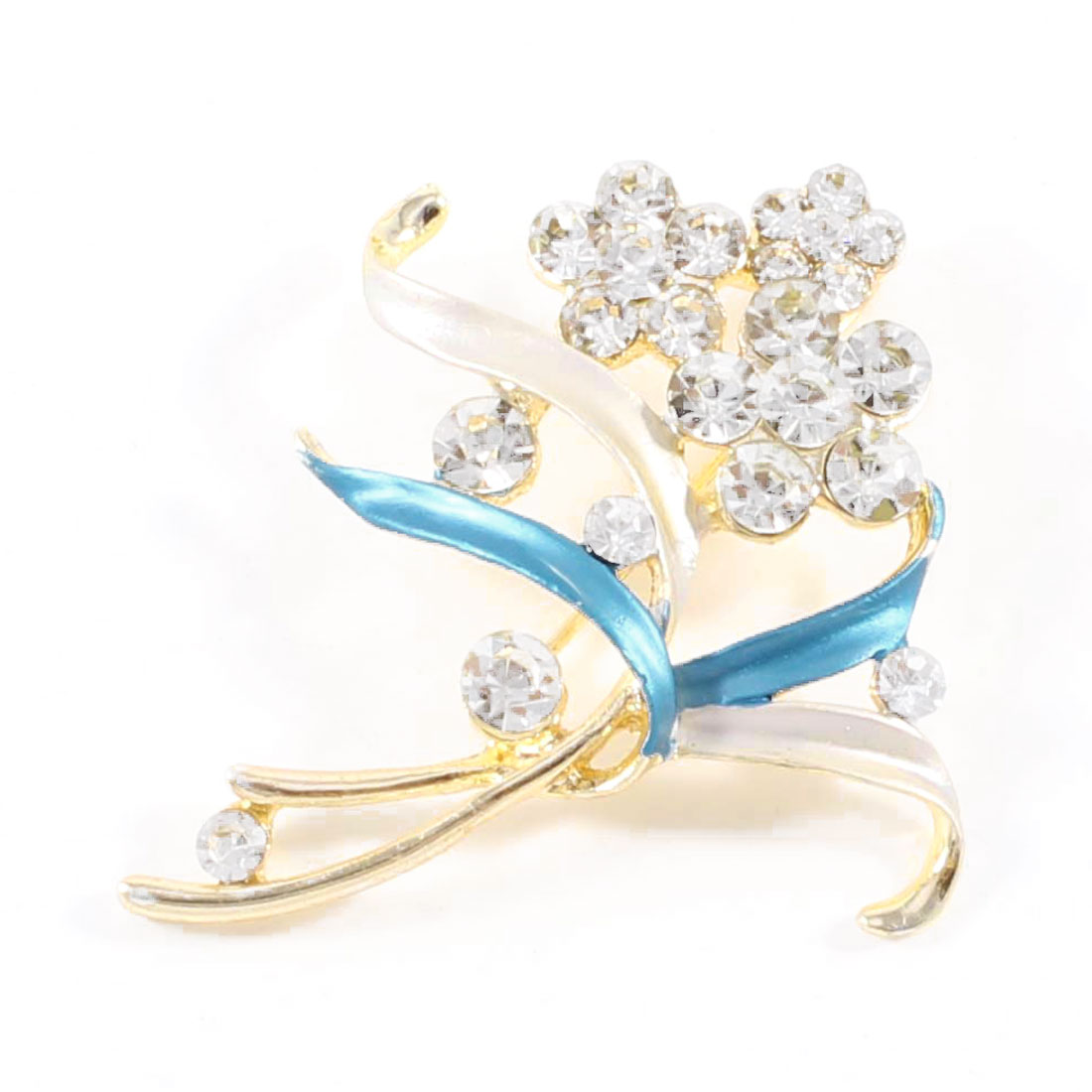 Bridal Glittery Rhinestones Accent Metal Florals Safety Pin Brooch Blue
