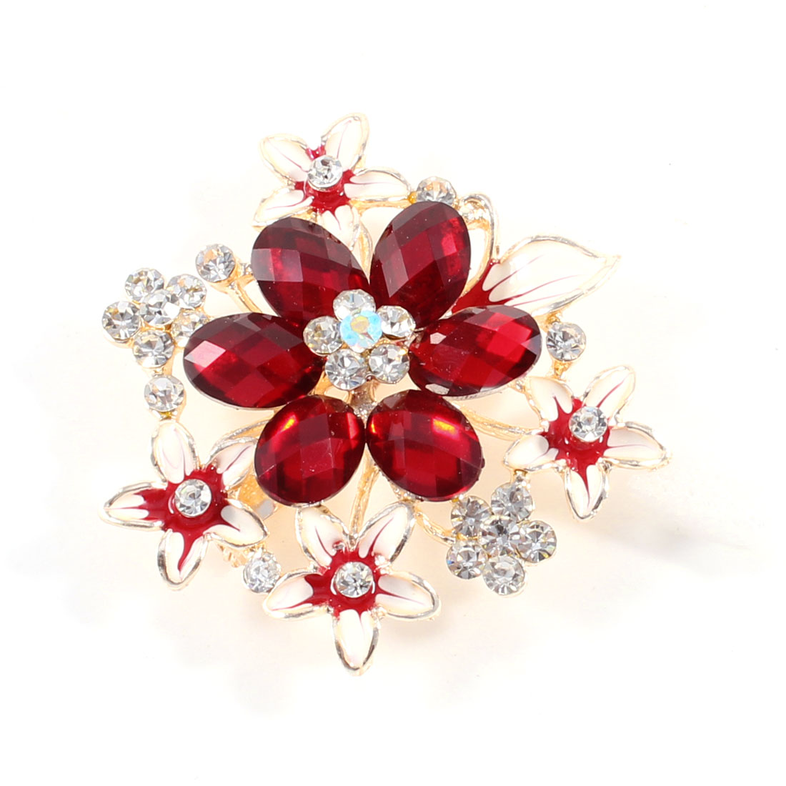 Woman Burgundy Glistening Rhinestones Decorative Metal Flower Pin Brooch