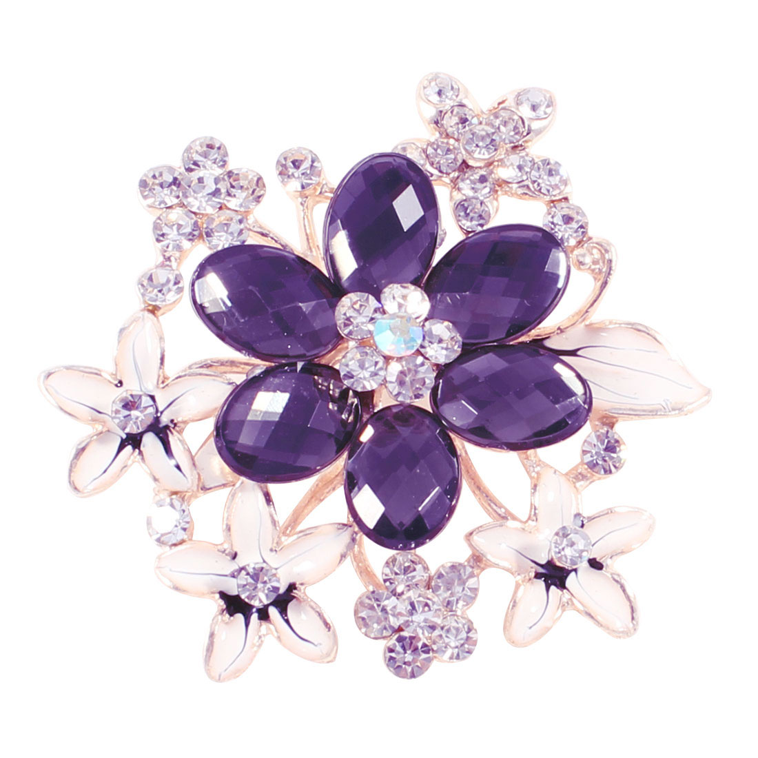 Purple Rhinestones Inlaid Florals Brooch Breast Pin Ornament for Lady