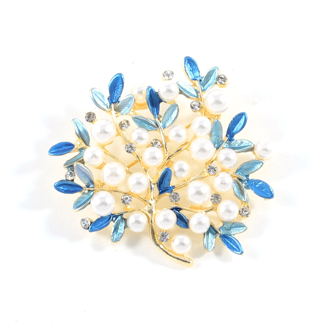 Lady Wedding Blue Off White Faux Pearls Decor Metal Leaves Brooch Breast Pin